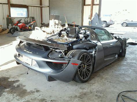 porsche 918 crash porsche 918 spyder turns up at salvage auction