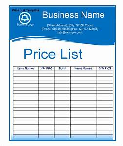 sample price list template 5 documents download in pdf With price for printing documents