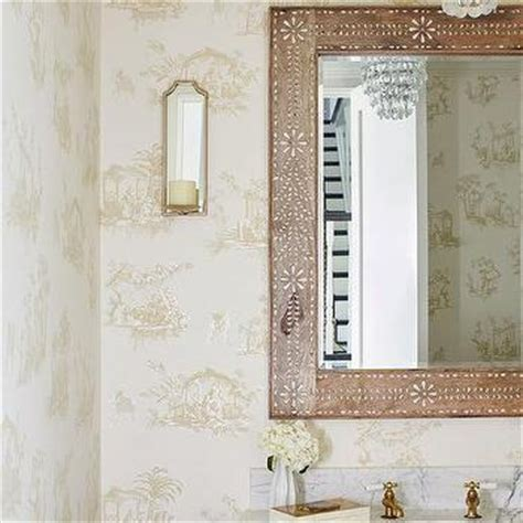 mini chandelier over powder room sink design ideas