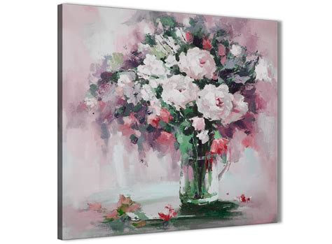 Blush Pink Flowers Painting Abstract Bedroom Canvas Wall
