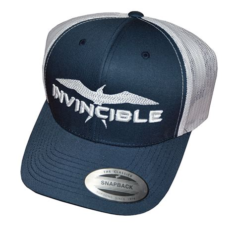Invincible Boats Shirts by Invincible Boats Blue And White Classic Trucker Snapback Hat