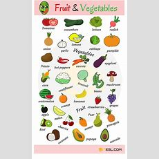 Fruits And Vegetables List, Names & Pictures  Ingles  English Vocabulary, Vocabulary Y