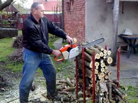 Firewood Cutting Stand by Cutting Trees On Stand With Stihl Chainsaw Youtube