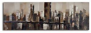 chocolate city skyline hand painted canvas art With kitchen cabinets lowes with chicago skyline canvas wall art