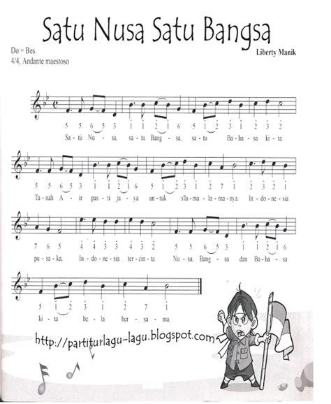 pencarian not angka not angka lagu satu nusa satu bangsa