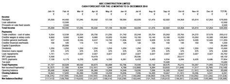 abc construction cash flow forecast report bowraven