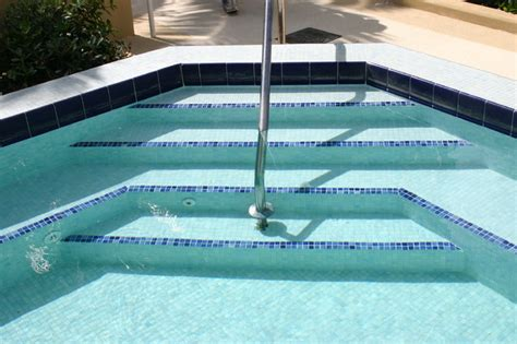 glass tile spa steps traditional pool miami by
