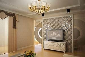 D tv wall interior design rendering