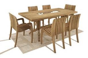 simple teak outdoor dining table and chair set