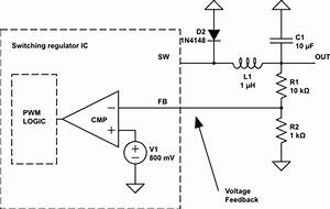 Step down buck converter how to replace feedback voltage for Regulator switching dc to dc step down voltage with lm2596