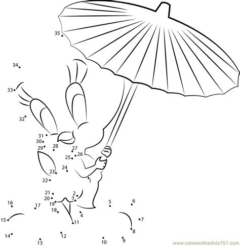 tweety bird with umbrella dot to dot printable worksheet connect the dots