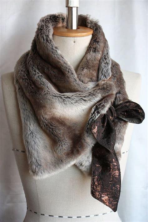 hals ist trocken neck warmer faux fur scarf collar soft brown stripe