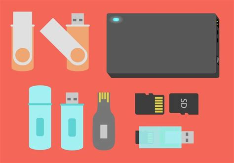 drive storage devices flat illustration vector