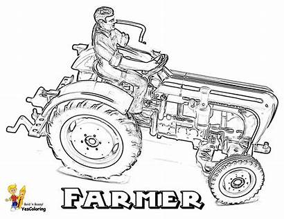 Tractor Coloring Pages Farmer Farm Tractors Sheets