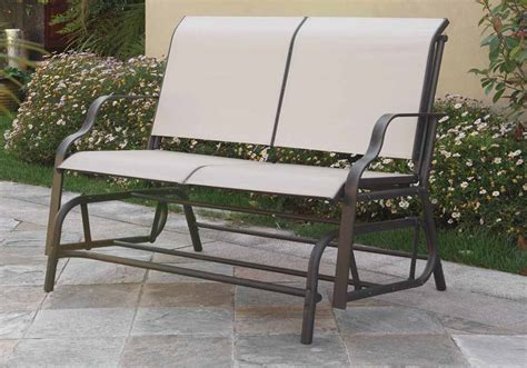 Outdoor Patio Yard Glider Loveseat Bench Dark Grey