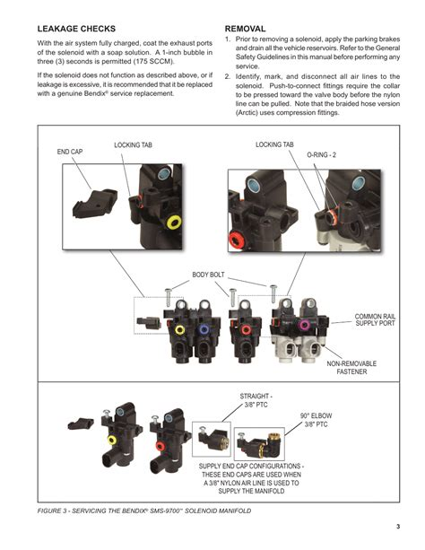 removal leakage checks bendix commercial vehicle systems sms 9700 accessory solenoid manifol