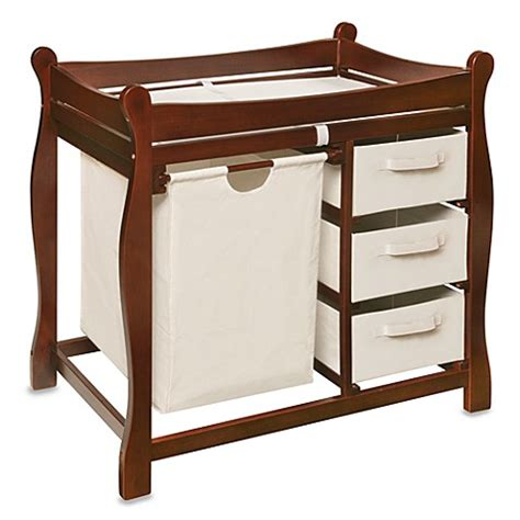 dark wood changing table badger basket sleigh changing table with her and 3