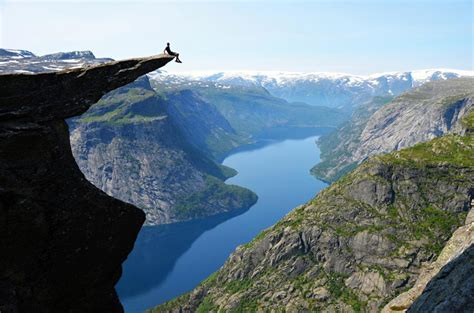 Sitting On The Edge Of Trolltunga Norway Stoked The