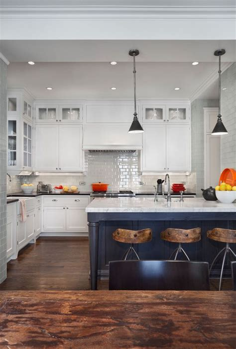 gorgeous white kitchens  coloured islands