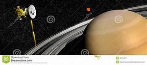 Cassini Spacecraft Near Saturn And Titan Satellite - 3D ...