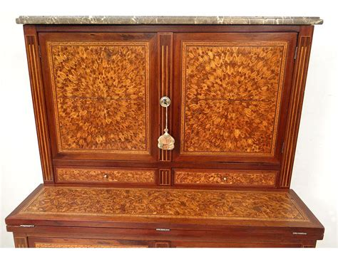 bureau secretaire bois bureau secrétaire louis xvi marqueterie fleurs bois debout