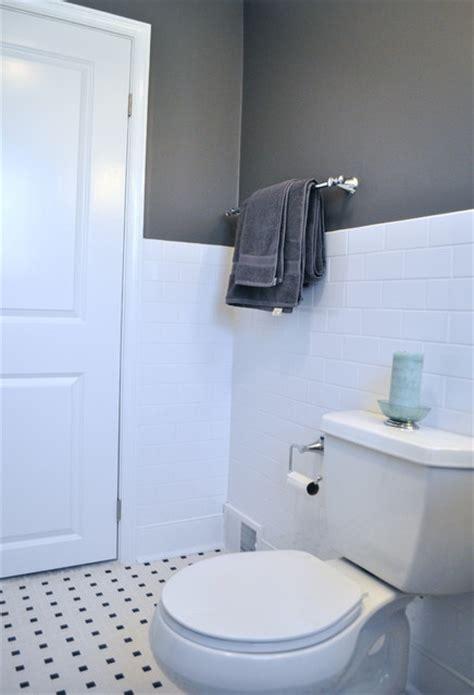 subway tile wainscoting bathroom wc traditional bathroom philadelphia by tyler grace