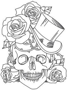 Sugar skull... | Skull coloring pages, Rose coloring pages