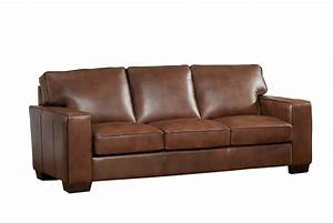 Kimberlly full top grain brown leather sofa for Brown leather sofa