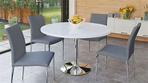 Simple White Round Dining Table 4 Legs Glass With Leather