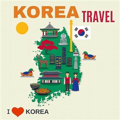 Korean Culture Poster Symbols Map Travel Vector