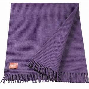 plaid design violet avec structure gaufree esprit home 140 With tapis de course avec plaid luxe pour canapé