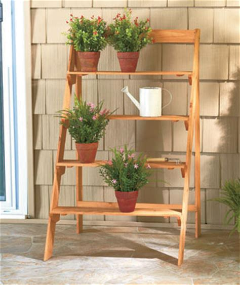 Wooden Patio Plant Stands by New Outdoor Weather Treated 4 Tier Ladder Style