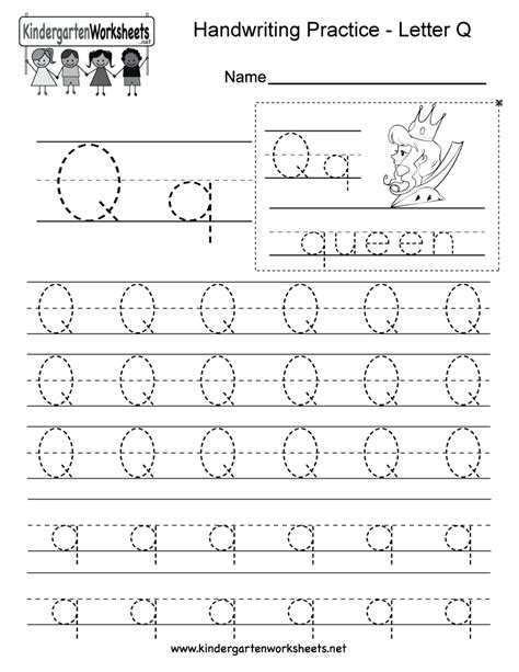 Letter Q Writing Practice Worksheet  Free Kindergarten English Worksheet For Kids