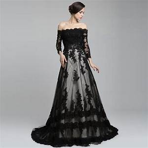 off the shoulder long sleeve lace long train a line With long black dress for wedding