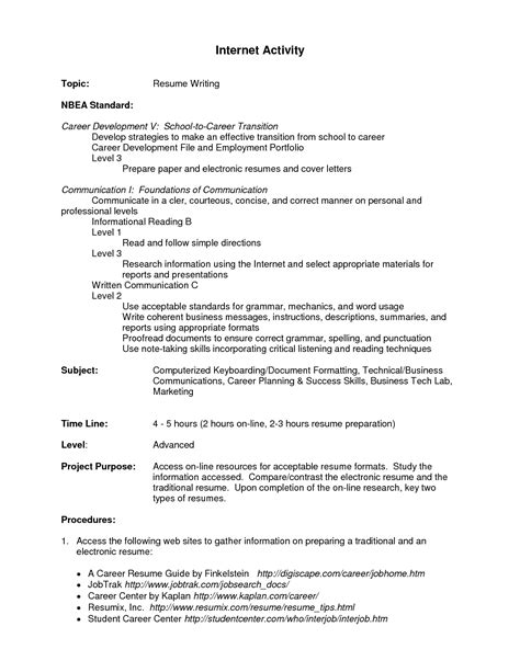 Activity Resume  Best Template Collection
