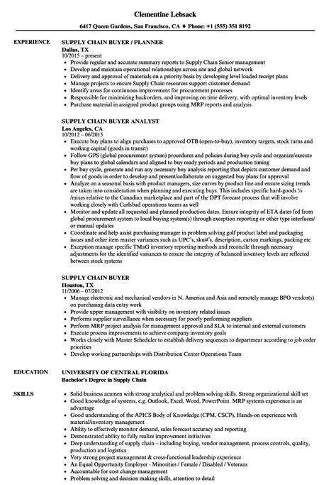 Buyer Resume by Supply Chain Buyer Resume Sles Velvet