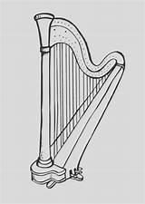 Harp Coloring Drawing Printable Pages Hemoglobin Stings Dancing Low sketch template