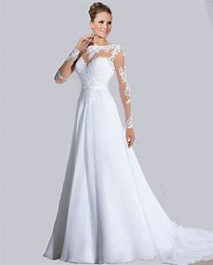 turmec cheap long sleeve white dress With long white wedding dresses