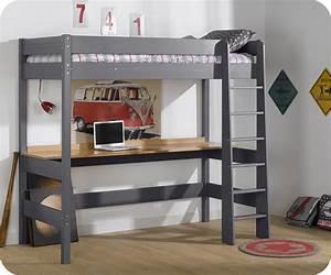 Lit Mezzanine Ado : cama alta juvenil clay 90x190cm gris antracita con escritorio ~ Teatrodelosmanantiales.com Idées de Décoration