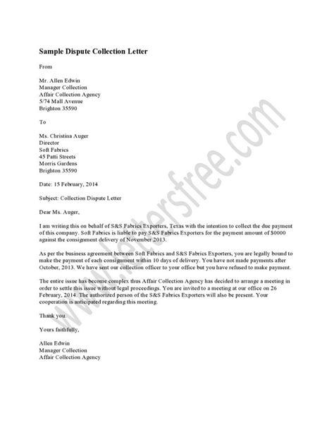 sample dispute collection letter