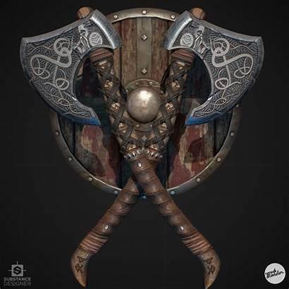 Axe Viking Shield Substance Designer Artstation Broken