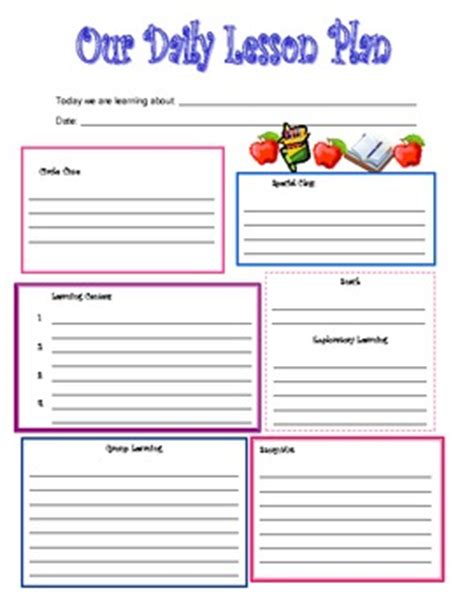 Daily Lesson Plan Template For Preschool by Preschool Daily Lesson Plan Template By Kari Lostocco Tpt