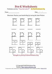 letter p tracing worksheets for preschool kindergarten With traceable letters for pre k