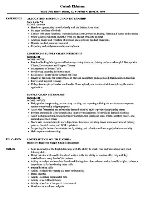 Cover Letter Supply Chain Internship by Supply Chain Internship Resume Sles Velvet