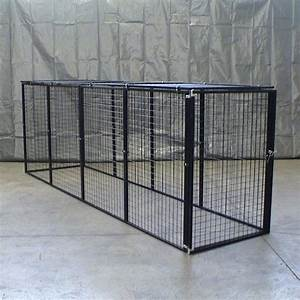 Bronze series enclosed top dog kennel 13 panel myopia for Enclosed dog kennel