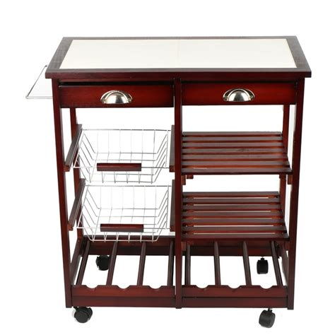 kitchen trolley cabinet 4 tier portable cherry wood kitchen trolley basket cabinet 3392