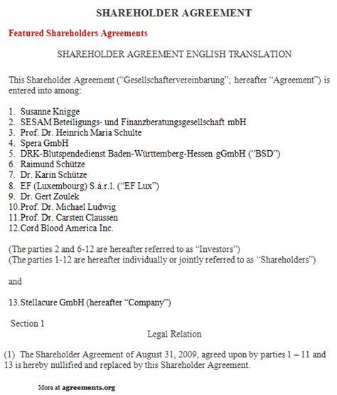 shareholders agreement template shareholder agreement sle shareholder agreement template