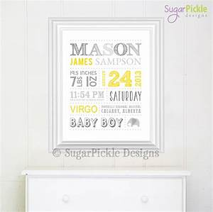 personalized nursery art wall art birth announcement With personalized wall art