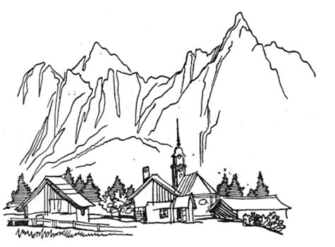 village   mountains coloring page supercoloringcom