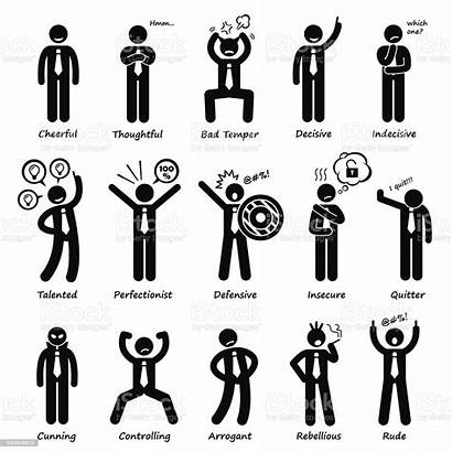 Stick Figure Attitude Characters Illustration Vector Icons